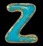 Goldenes glänzendes metallisches 3D mit Großbuchstaben Z - Versalien des blauen Farbensymbols lokalisiert auf Schwarzem 3d lizenzfreie abbildung