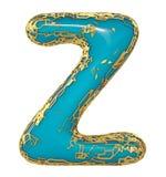 Goldenes glänzendes metallisches 3D mit Großbuchstaben Z - Versalien des blauen Farbensymbols lokalisiert auf Weiß 3d stock abbildung
