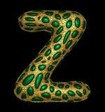 Goldenes glänzendes metallisches 3D mit Großbuchstaben Z - Versalien des Symbols des grünen Glases lokalisiert auf Schwarzem stock abbildung