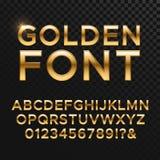 Goldenes glattes Vektorguss- oder -goldalphabet Gelbes Metallschriftbild stock abbildung