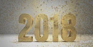 2018 goldenes Goldneues Jahr 2018 3d übertragen stock abbildung
