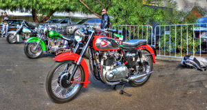 Goldenes grelles Motorrad der Weinlese BSA Stockfotografie