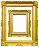 Goldenes hölzernes Fotobildfeld getrennt Lizenzfreie Stockfotografie