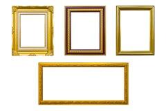 Goldenes hölzernes Fotobildfeld getrennt Lizenzfreie Stockfotos