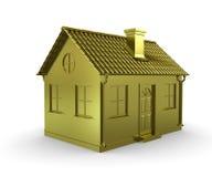 Goldenes Haus auf einem weißen Hintergrund Lizenzfreie Stockbilder