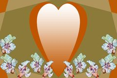 Goldenes Herz und weiße Blumen auf einem abstrakten geometrischen Hintergrund lizenzfreies stockbild