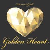 Goldenes Herzpolygon Lizenzfreies Stockbild
