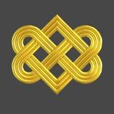 Goldenes Ineinander greifenherzknotensymbol Stockbilder