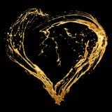 Goldenes Inneres des abstrakten Valentinsgrußes Stockbilder
