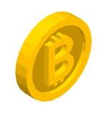 Goldenes isometrisches Symbol Bitcoin Vektorillustration 3d Lizenzfreies Stockfoto