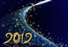 Goldenes Jahr 2012 auf blauem sternenklarem Hintergrund Stockfotos