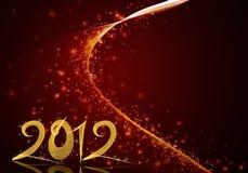 Goldenes Jahr 2012 auf rotem sternenklarem Hintergrund Lizenzfreie Stockfotos