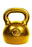 Goldenes 16 Kilogramm-Kesselbel Stockbild