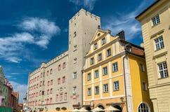 Goldenes Kreuz,一座老城堡在雷根斯堡,德国 免版税库存照片
