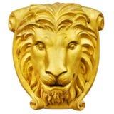 Goldenes Löwestatuenisolat ist auf weißem Hintergrund Lizenzfreie Stockfotos