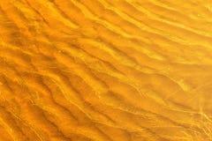 Goldenes Licht, das weg weg einer Wasserwelle in dem Meer und vom Sand auf Sonnenuntergang sich reflektiert Lizenzfreies Stockfoto