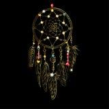 Goldenes luxary aufwändiges Dreamcatcher mit Federn, Edelsteine Astrologie, Geistigkeit, magisches Symbol Ethnisches Stammes- Ele Stockfotografie
