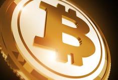 Goldenes Münzen-Konzept Bitcoin Stockbilder