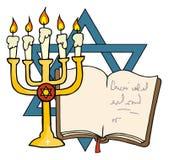 Goldenes menorah und Buch Stockfoto