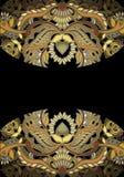Goldenes mit BlumenGestaltungselement auf dunklem Hintergrund Stockbilder