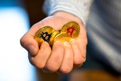 Goldenes neues virtuelles Geld Bitcoins Lizenzfreies Stockfoto