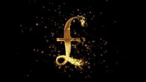 Goldenes PfundW?hrungszeichen, das von einer Wolke von goldenen Partikeln erscheint stock video