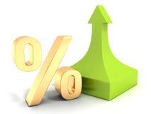 Goldenes Prozentsatzsymbol mit grünem Pfeil oben Stockbilder