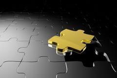 Goldenes Puzzlespielstück Lizenzfreie Stockbilder