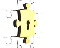 Goldenes Puzzlespielstück mit Wiedergabe des Schlüssellochs 3D Lizenzfreies Stockbild