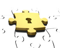 Goldenes Puzzlespielstück mit Wiedergabe des Schlüssellochs 3D Lizenzfreie Stockfotos
