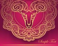Goldenes RAM. Horoskop. Dekorativer Hintergrund Stockbilder