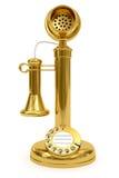 Goldenes Retro--angeredetes Telefon auf Weiß Lizenzfreies Stockbild