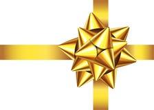 Goldenes Satingeschenkband und -bogen für Weihnachten, Dekorum des neuen Jahres Lizenzfreie Abbildung