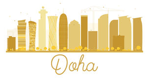 Goldenes Schattenbild der Doha-Stadtskyline Stockfotografie