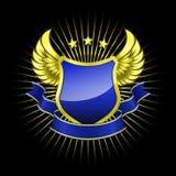 Goldenes Schild mit blauem Band Lizenzfreie Stockbilder