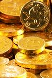 Goldenes Schokoladengeld Stockfoto
