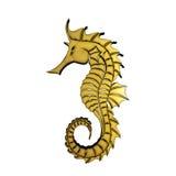 goldenes Seepferdchen 3D Lizenzfreie Stockfotos