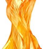 Goldenes silk Feuergewebe lokalisiert auf Weiß Stockbild