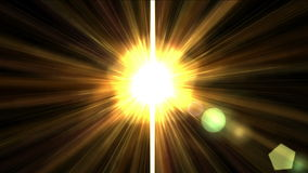 goldenes Sonnenlicht des Glanzes 4k mit Strahlnlaser-Faserlinie, zukünftige Lichtenergie der Wissenschaft stock footage