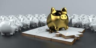 Goldenes Sparschwein-Puzzlespiel stock abbildung
