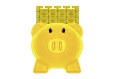 Goldenes Sparschweingelb und Goldmünzen Stockbild