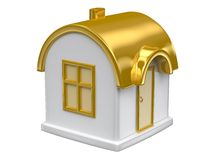 Goldenes Spielzeughaus Stockfoto