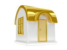 Goldenes Spielzeughaus Stockfotos