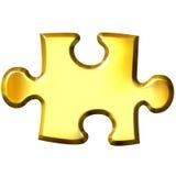 goldenes Stück des Puzzlespiel-3D Stockbild