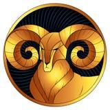 Goldenes Sternzeichen des Widders, Horoskopsymbol, Vektor vektor abbildung