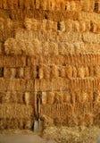 Goldenes Stroh emballiert Wand und Hilfsmittel Stockbild