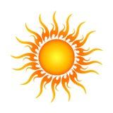 Goldenes Sun-Logo herein Stockbilder