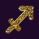 Goldenes Symbol des Schützen tierkreis Vektor Lizenzfreie Stockbilder