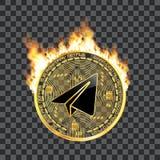 Goldenes Symbol des Schlüsselwährungsgramms auf Feuer Stockfoto