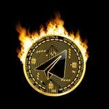 Goldenes Symbol des Schlüsselwährungsgramms auf Feuer Stockfotografie